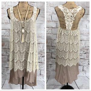 A'Reve Boutique Lace Crochet Hi Lo BOHO Midi Dress